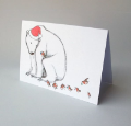 Christmas Card - Polar bear and robins